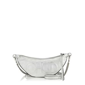 NEW, JIMMY CHOO 'FAYE' SILVER LEATHER CROSSDOBY/BELT BAG, $1250