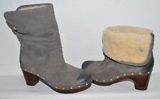 UGG AUSTRALIA SZ 6 M 37 GRAY SUEDE SHEARLING FOLDOVER BOOTS PLATFORM BOOTIES