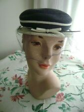 1960's Smart navy blue and white straw hat