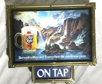 Vintage OLD STYLE Waterfall Scene Lighted ON TAP Beer Bar Sign Man Cave Tested!