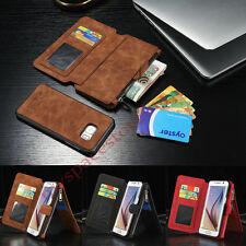Multifunktions Magnetic Leder Reißverschluss Brieftasche Kartenfach Handy Hülle