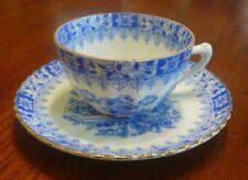 Vtg Eggshell Porcelain Blue White Ribbed Demitasse Cup & Saucer Japanese Design
