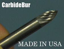 "SOLID CARBIDE BURR SG-41 SINGLE CUT 1/8"" TREE POINTED TOOL BUR BIT"