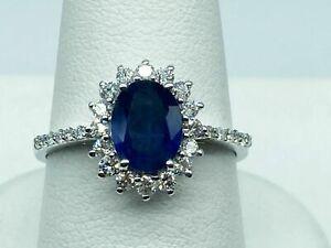 Handgemachter Ring 18 Karat Weißgold Natürlicher Saphir Diamanten