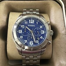 NIB Men's Fossil Watch BQ 1239 Stainless Steel, Blue Dial Chronograph, GREAT!