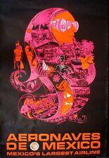 AERONAVES DE MEXICO ACAPULCO Vintage Travel poster 1972 Bob Bride Design NM