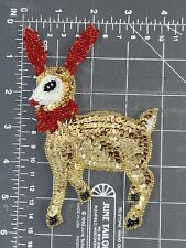 Vintage Rudolph The Red-Nosed Reindeer Sequins Beads Patch Christmas Santa Claus