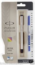 Parker Vector Classic Steel Chrome Trim CT Rollerball Pen Roller Ball Blue Ink