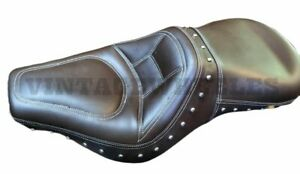 For Royal Enfield Classic 350cc 500cc Custom Cushioned Low Rider Dual Seat Brown