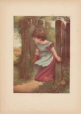 Victorian Girl with Beloved Doll Lithograph Antique Art  Print 1885