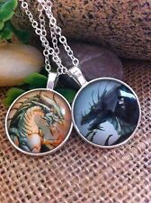 Two Pack Silver Roaring Dragon Pendant Necklaces Wicca Magical Spirit Animal