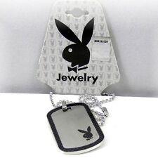 RARE NEW Men's Playboy Bunny Necklace Dog Tag Pendant Play Boy y2k Deadstock 00s