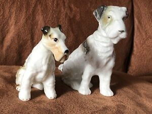 2 X VINTAGE PORCELAIN WIRE HAIRED FOX TERRIER DOG FIGURINE/ COLLECTIBLES