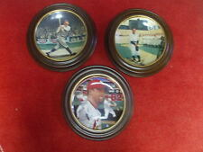 VINTAGE BASEBALL PLATE LOT OF 3 W/ WALL MOUNTS RUTH GHERIG McGWIRE L@@K!