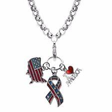 American Patriotic Charm Necklace in Silver