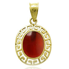 14k Solid Yellow Gold Carnelian Oval Red Onyx Charm $169.00