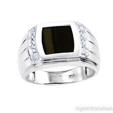 Mens Tigers Eye & Diamond Ring 14K Yellow or White Gold
