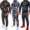 Men's Camouflage Tracksuit Zip Hoodie Hoody Sweatshirt Jogging Pants Sportswear