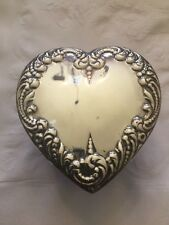 Vintage Heart. Shape Vanity Jar With Sterling Top And Blue Cut Glass Jar RARE