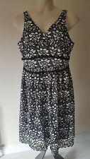 Ladies M&S size 16 occasion LACE look DRESS midi black white NEW TAGS rrp £69 FP