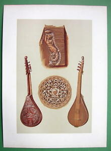 MUSICAL INSTRUMENTS Cetera Type of Guitar - 1888 SUPERB COLOR Litho Print
