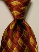 VALENTINO Men's 100% Silk Necktie ITALY Luxury Geometric Brown/Yellow/Green EUC