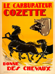 Le Carburateur Cozette Vintage French Motoring Advertising Poster Art Print