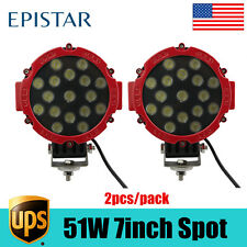 "2X51W 7"" LED Work Light SPOT RED Round Offroad Fog Driving 4WD Boat UTE ATV SUV"