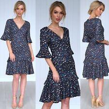 Dress Sz 16 Oriental Floral Winter Shift Dress Boho Belle Sleeve