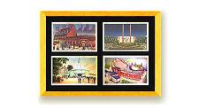 Postcard Display Frame & Mat For 4 Vintage / Antique 3-1/2 x 5-1/2 Card GOLD/SLV