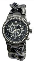 Ladies Black Twist Link Chunky Curb Chain Bracelet Watch w/ Swarovski Crystals