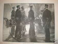 Naval Torpedo Drill on Board an Ironclad 1891 print
