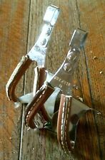 NOS CHRISTOPHE CHROME STEEL SMALL LEATHER COVERED TOE CLIPS