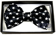 Tuxedo Bow Tie Classic Black And White Stars Pattern Adjustable PreTied BowTie