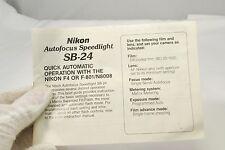 Nikon Speedlight Flash SB-24 Guía Rápida With F4 Or N8008 Cámaras 7216041