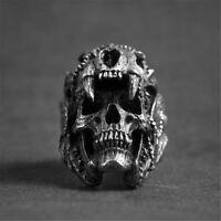 Cool Men's Stainless Steel Gothic Punk Skeletons Skull Head Biker Finger Ring
