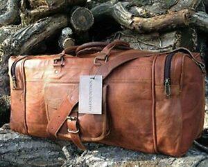 "24"" Men's Vintage Brown Genuine Leather Camel hide Travel Duffle Luggage Gym Bag"