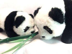 Mom And Baby Family Panda Bear Set Mother Child Black White Electronic Plush EUC