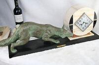 XXL ART DECO 1937 French Fox spelter bronze marked clock marble base rare