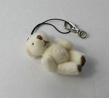 Handmade Soft Cream Teddy Bear Handbag Keyring Purse Phone Charm - Gift Idea