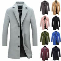 Mens Retro Trench Coat Single Breasted Warm Outwear Long Jacket Formal Overcoat