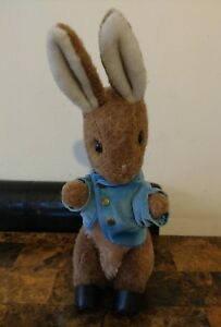 "Vtg Eden Plush Beatrix Potter Peter Rabbit Stuffed Animal 12"" Blue Jacket Brown"