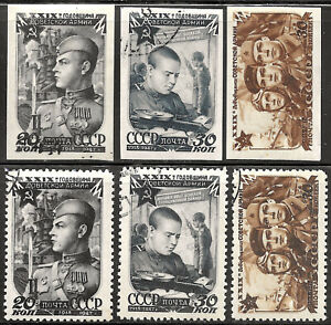 Russia #1101-1103A, CTO/m -1946- Soviet Army - 2 Complete Sets (perf and imperf)