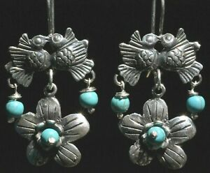 TAXCO MEXICAN 925 STERLING SILVER TURQUOISE DANGLE EARRINGS FRIDA KAHLO STYLE