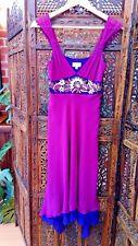 Karen Millen Silk Dress Size 8 Purple with Cream & Gold Floral Shell Decoration.