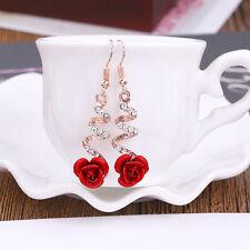 Women Fashion Red Rose Flower Earrings Gold Crystal  Hook Dangle Drop Jewelry YK