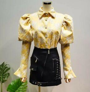 Yellow White Victorian Vtg Puff Sleeve Diamante Autumn Unique Blouse Shirt 8 10