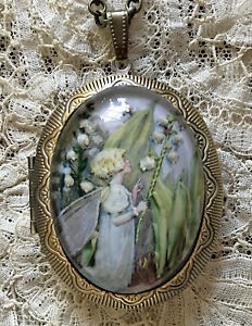 LILY OF THE VALLEY FAIRY Vintage Picture Locket Necklace CICELY MARY BARKER