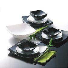 LUMINARC QUADRATO 19 pcs B&W Dinner set ARCOPAL Dishwasher/Microwave safe
