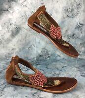 Steve Madden Pharroh Womens Brown Beaded Thong Sandals, Back Zipper Size 8 M